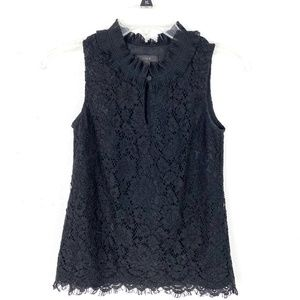 J. Crew ruffle neck lace top sleeveless keyhole
